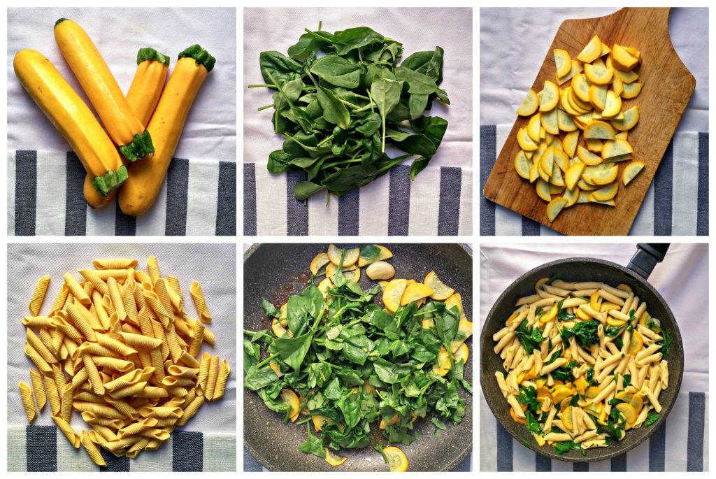 Collage pasta zucchine e spinaci